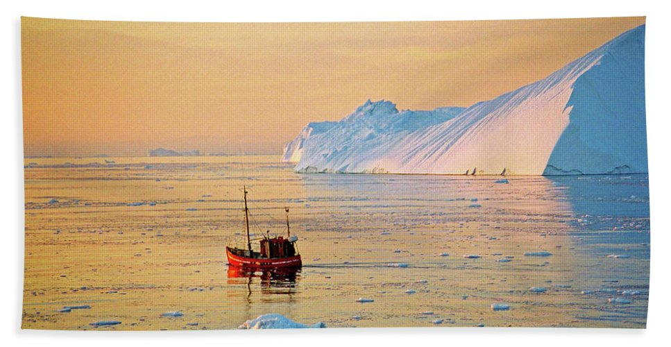 Greenland Hand Towel featuring the photograph Lonely Boat - Greenland by Juergen Weiss
