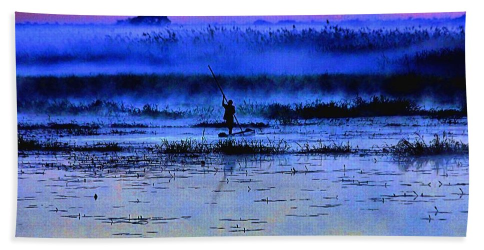 Dawn Bath Sheet featuring the photograph Lonely Fisher by Martin Michael Pflaum
