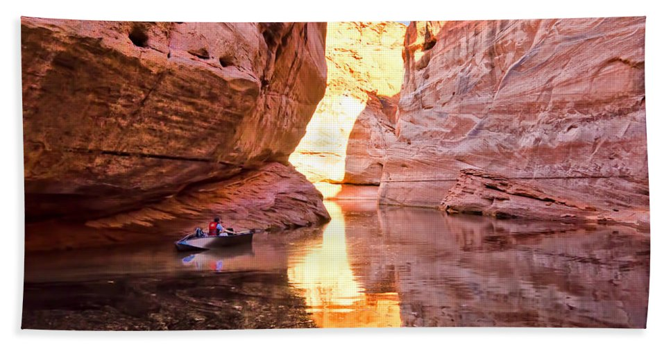 Lake Powell Utah Hand Towel featuring the photograph Lonely Fisherman by Jon Berghoff