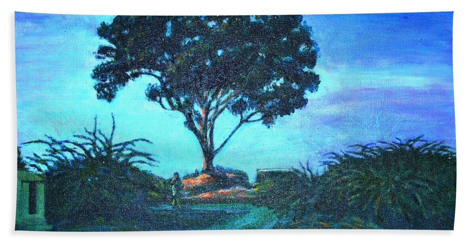 Lonely Bath Sheet featuring the painting Lonely Giant Tree by Usha Shantharam