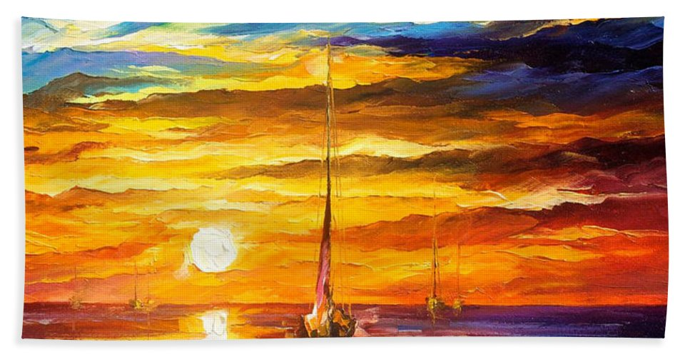 Oil Paintings Hand Towel featuring the painting Lonely Sea 3 - Palette Knife Oil Painting On Canvas By Leonid Afremov by Leonid Afremov