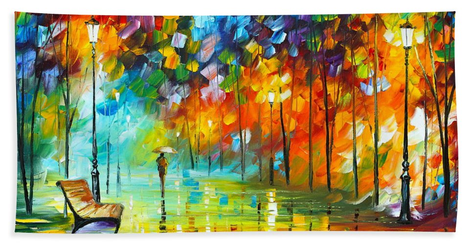 Park Bath Sheet featuring the painting Lonely Stroll 3 by Leonid Afremov