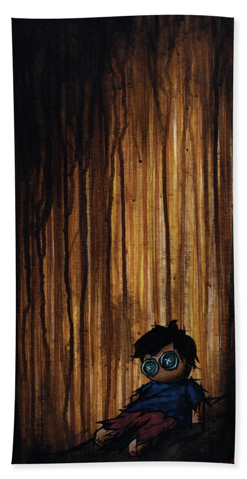 Lonesome Bath Sheet featuring the painting Lonesome by Marlon Huynh