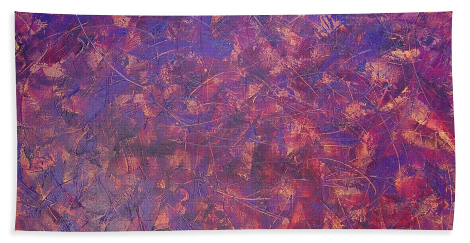 Abstract Hand Towel featuring the painting Long Beach 5am by Dean Triolo