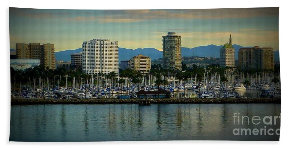 City Landscape Hand Towel featuring the photograph Long Beach Cityscape  by Susan Garren