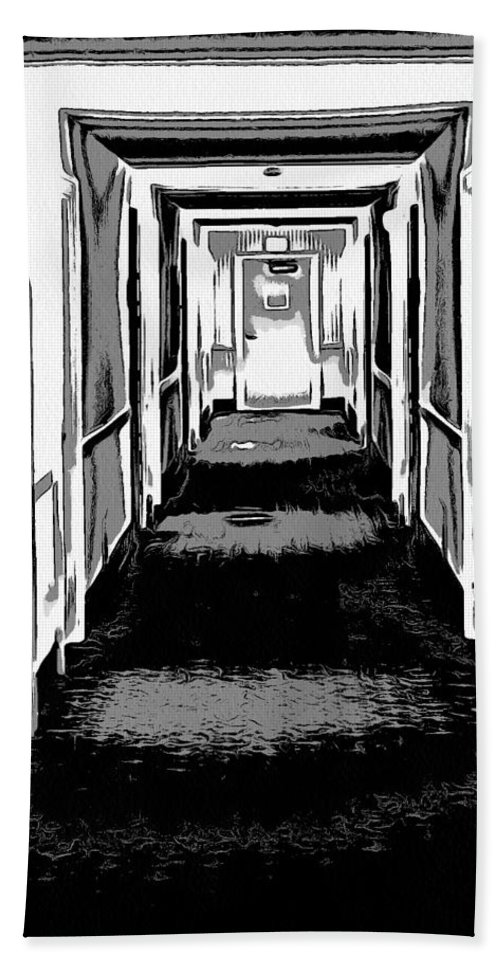 Long Hallway Bath Sheet featuring the digital art Long Hallway by Dan Sproul