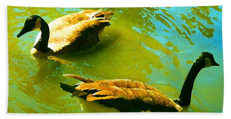 Wild Birds Bath Towel featuring the painting Long Neck Ducks by Amy Vangsgard