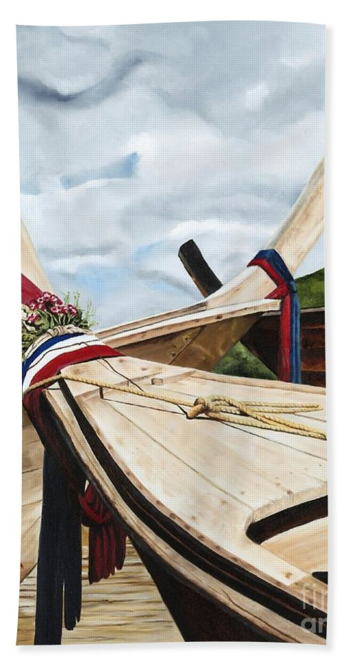 Art Bath Sheet featuring the painting Long Tail Boats Of Krabi by Mary Rogers