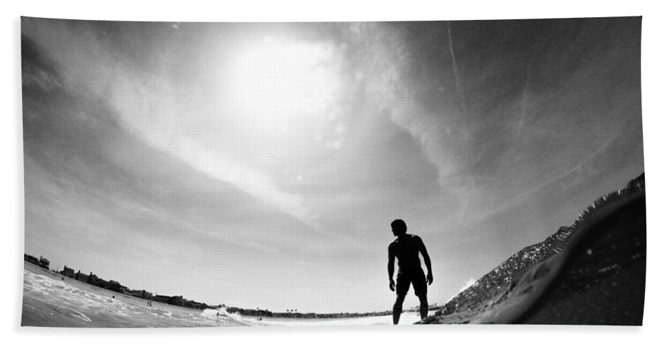 Wave Hand Towel featuring the photograph Longboarder Riding A Small Wave by Kyle Morris