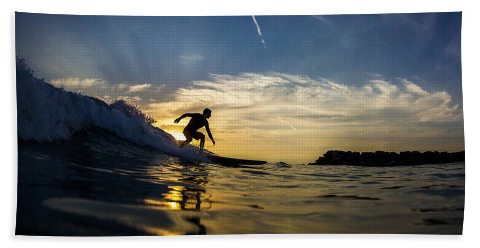 Surf Hand Towel featuring the photograph Longboarding Into The Sunset by Kyle Morris