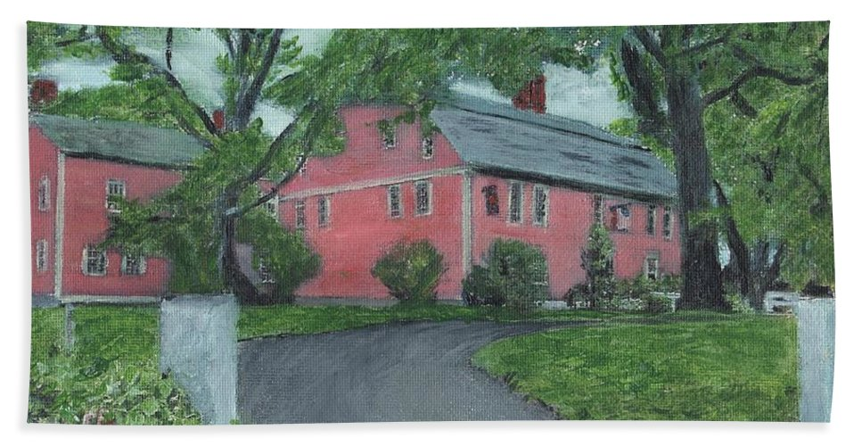 Historic Site Hand Towel featuring the painting Longfellow's Wayside Inn by Cliff Wilson