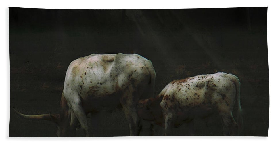 Tn Bath Sheet featuring the photograph Longhorns Reflections At The Pond by Ericamaxine Price
