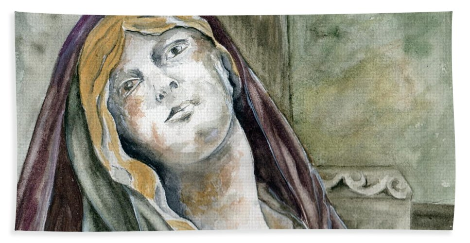 Portrait Bath Sheet featuring the painting Longing by Brenda Owen