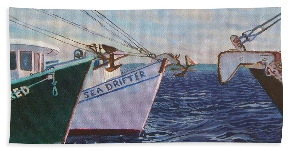 Boats Hand Towel featuring the painting Longliners Achor To Anchor by Alan Mintz
