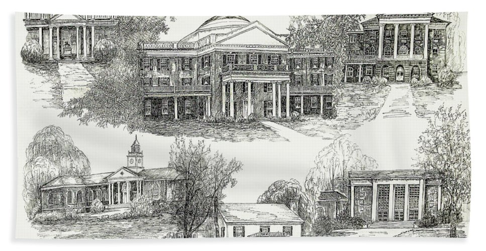 Illustrations Hand Towel featuring the digital art Longwood College by Jessica Bryant