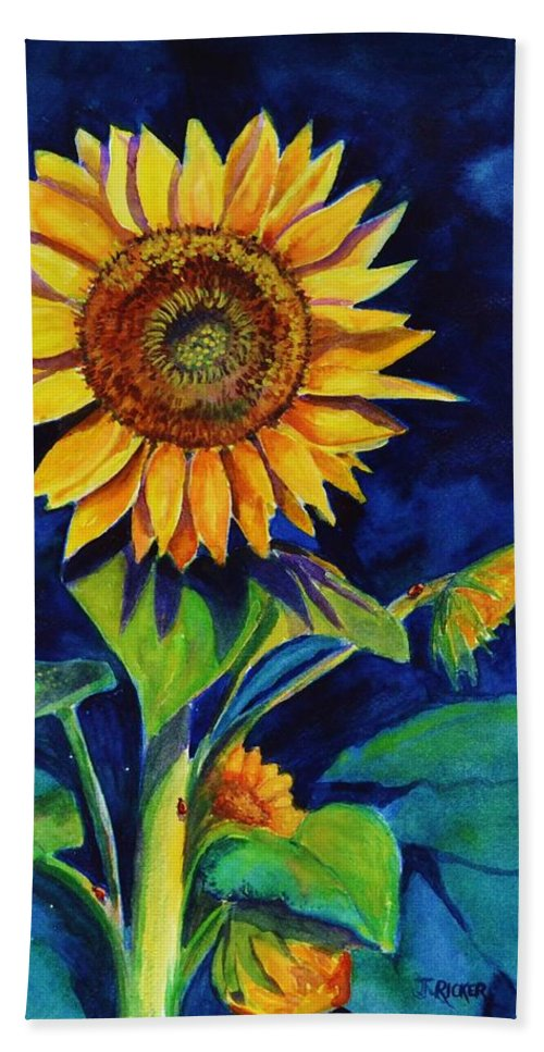 Sun Hand Towel featuring the painting Midnight Sunflower by Jane Ricker