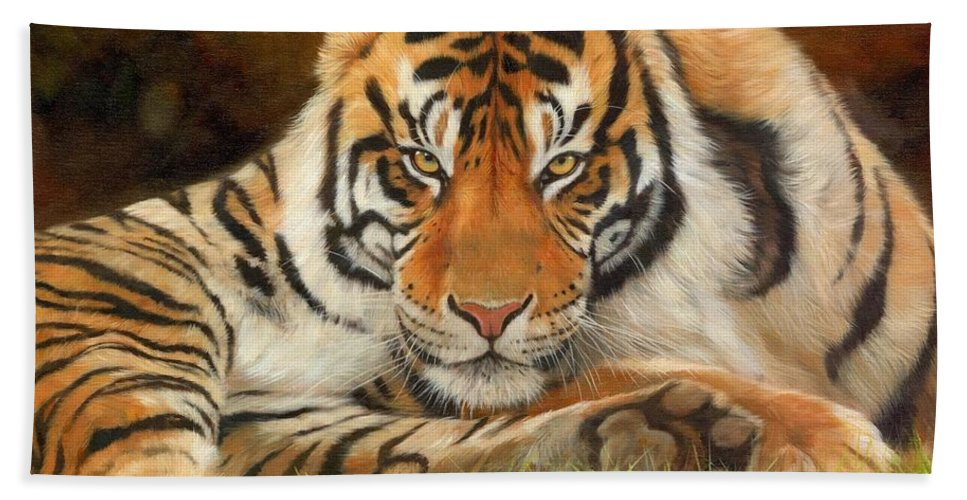Tiger Hand Towel featuring the painting Look Into My Eyes by David Stribbling