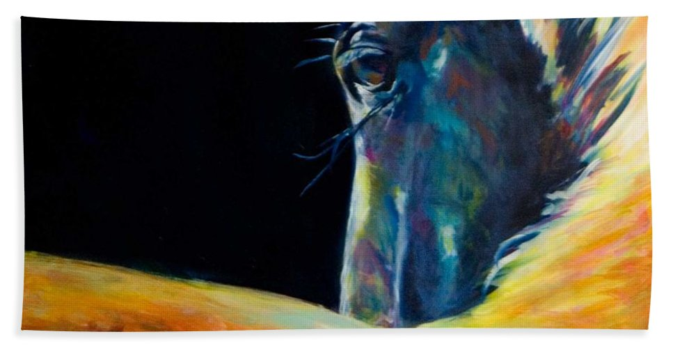 Horses Bath Sheet featuring the painting Look by Jennifer Hickman