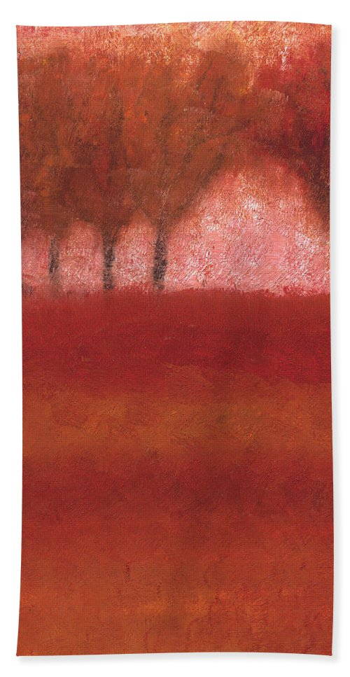 Red Trees Hand Towel featuring the painting Looking At The World Through Rose Colored Lenses by Jessica Rosen