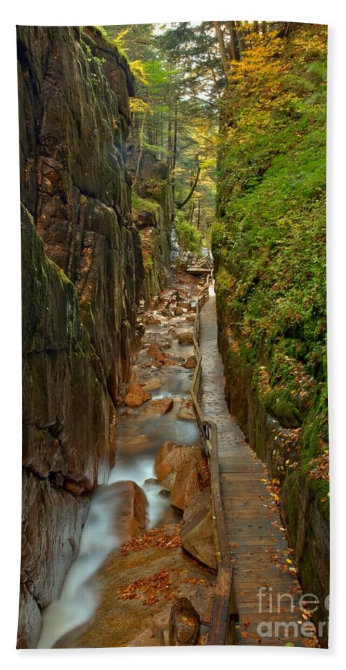 Flume Gorge Bath Sheet featuring the photograph Looking Down Flume Gorge by Adam Jewell