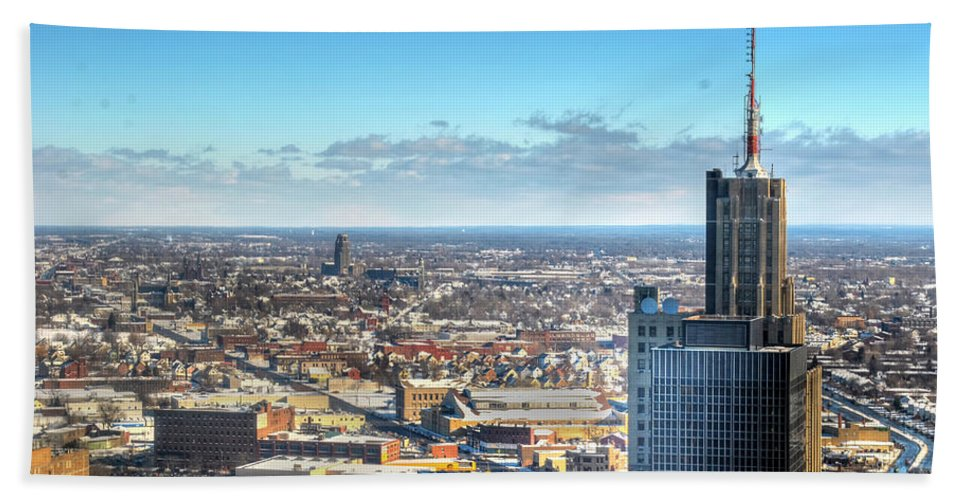 Winter Hand Towel featuring the photograph Looking East...the Rand Building Winter 2013 by Michael Frank Jr