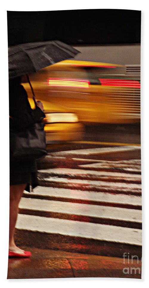 Traffic Hand Towel featuring the photograph Looking For A Taxi - Rush Hour New York by Miriam Danar