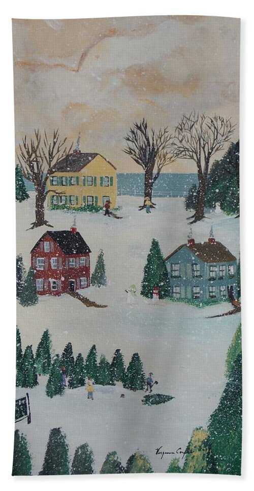 Snow Hand Towel featuring the painting Looking For A Tree by Virginia Coyle