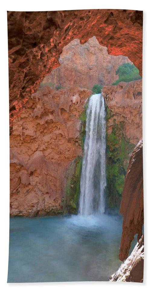 Mooney Falls Bath Sheet featuring the photograph Looking Out From The Cave by Alan Socolik