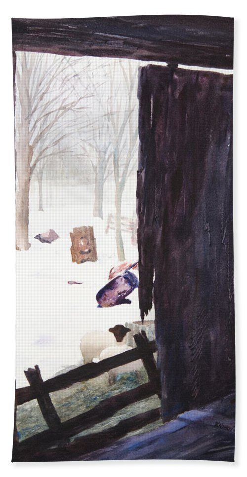 Landscape Bath Towel featuring the painting Looking Out Looking In by Rachel Christine Nowicki