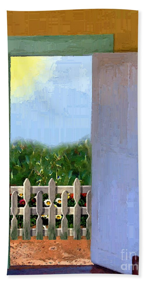 Door Bath Towel featuring the painting Looking Out My Back Door by RC DeWinter