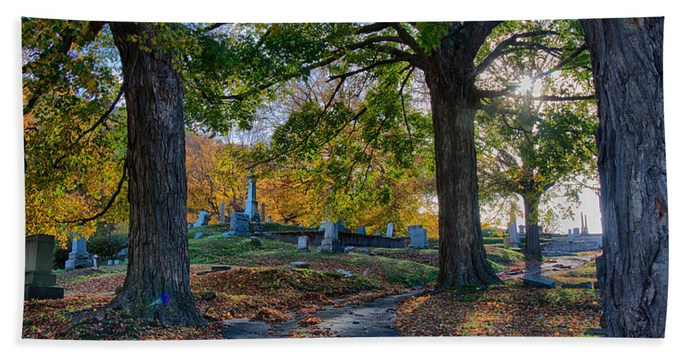 Autumn Foliage New England Hand Towel featuring the photograph Looking Over The Hill by Jeff Folger