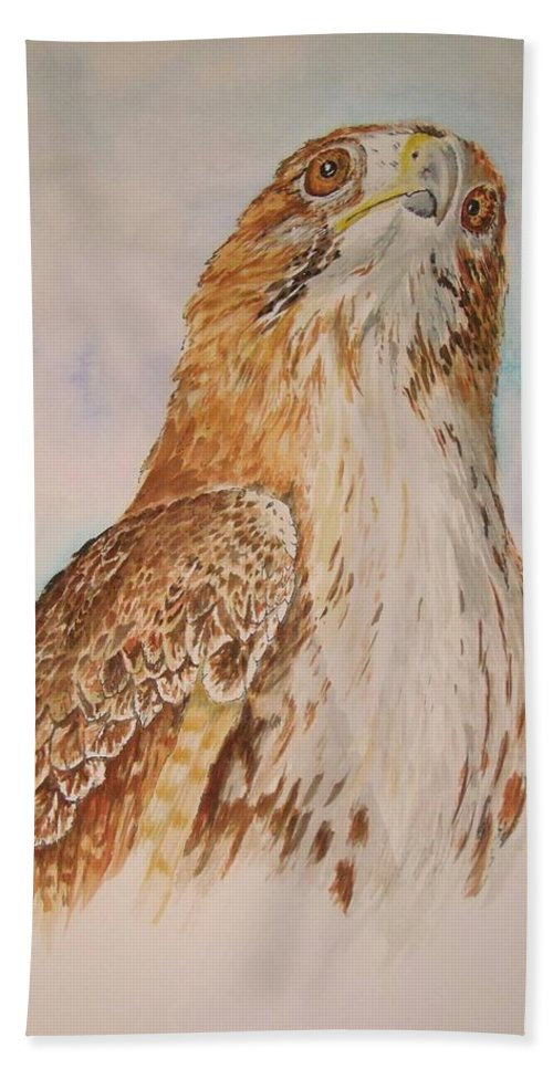 Hawk Bath Sheet featuring the painting Looking Toward The Future by Nicole Angell