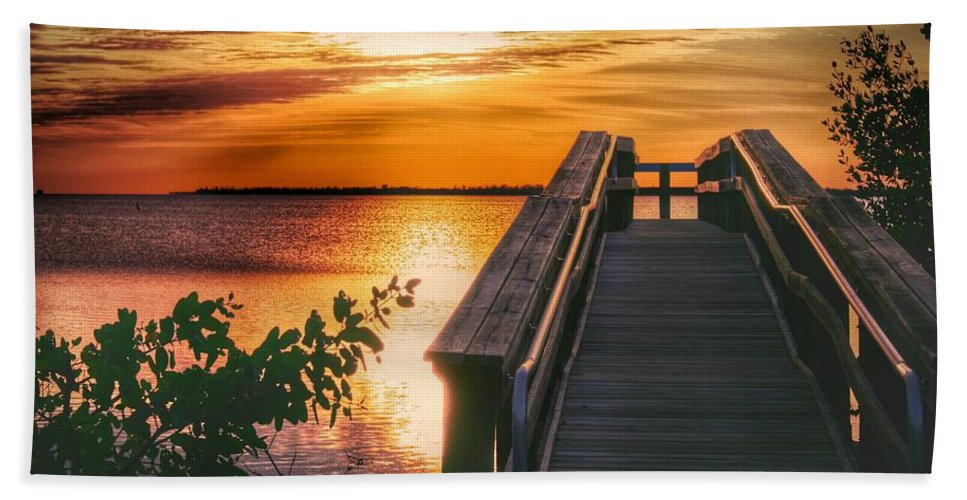 Sunset Bath Sheet featuring the photograph Lookout by Jeannine Rose