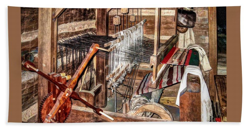 Old Weaving Loom Bath Sheet featuring the photograph Loom by Savannah Gibbs