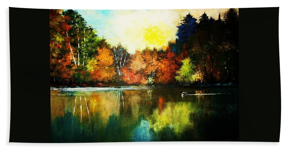 Woodland Hand Towel featuring the painting Autumn In Loon Country Ll by Al Brown