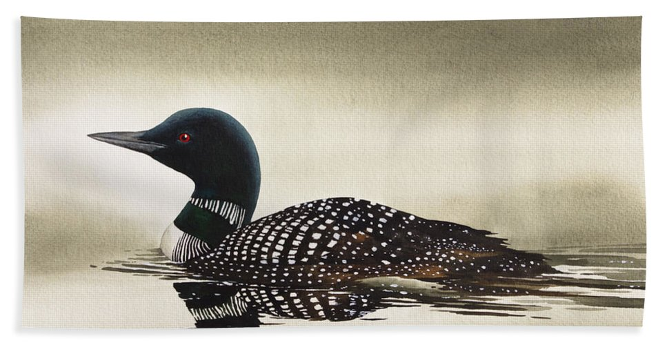 Loon Bath Sheet featuring the painting Loon In Still Waters by James Williamson