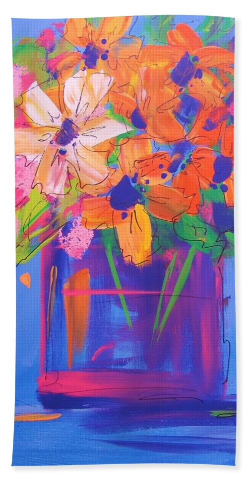 Abstract Bath Sheet featuring the painting Loosey Goosey Flowers by Terri Einer