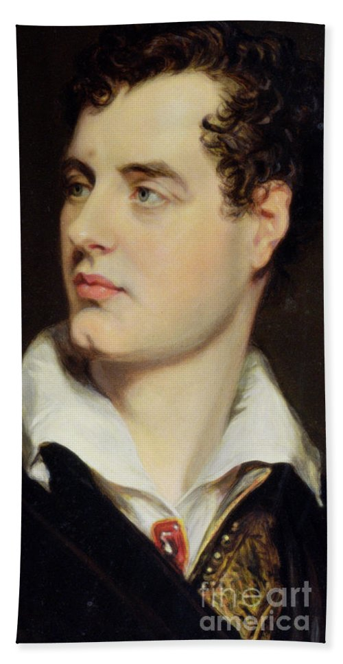 Byron Bath Sheet featuring the painting Lord Byron by William Essex