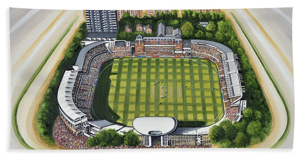 Canvas Bath Sheet featuring the painting Lords Cricket Ground by D J Rogers