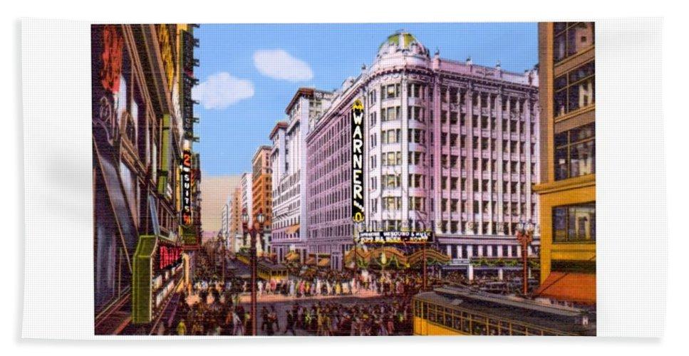 Seventh Strett Bath Sheet featuring the digital art Los Angeles California - Seventh Street - 1938 by John Madison