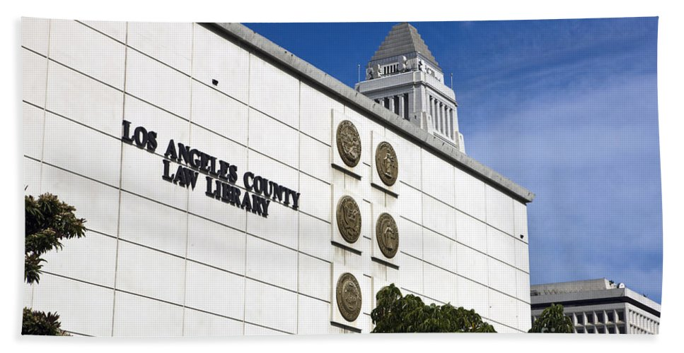 Travel Hand Towel featuring the photograph Los Angeles County Law Library by Jason O Watson