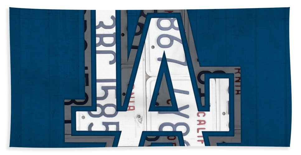 Los Bath Sheet featuring the mixed media Los Angeles Dodgers Baseball Vintage Logo License Plate Art by Design Turnpike