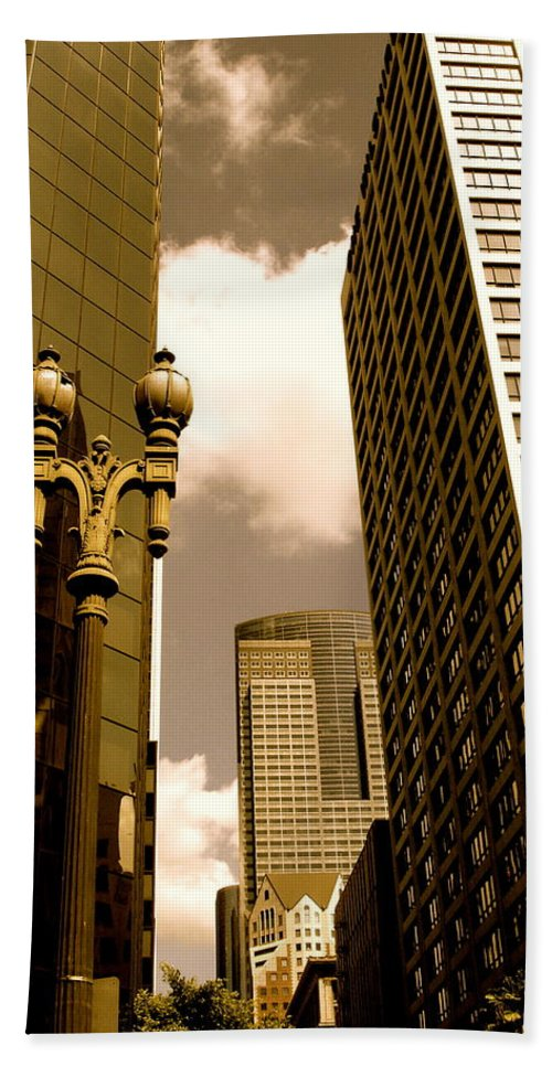 Los Angeles Prints Bath Towel featuring the photograph Los Angeles Downtown by Monique's Fine Art