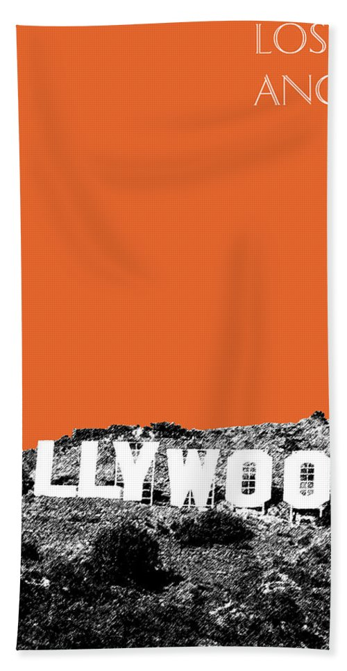 Architecture Bath Towel featuring the digital art Los Angeles Skyline Hollywood - Coral by DB Artist
