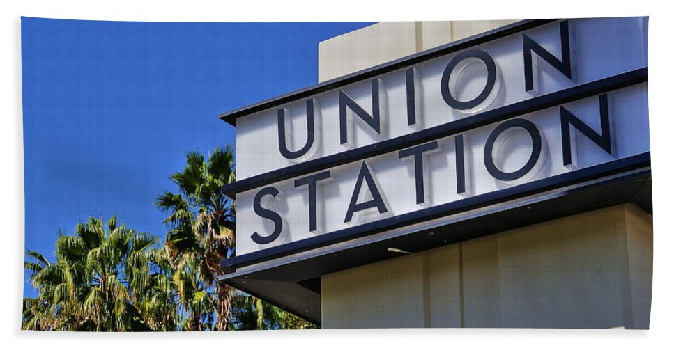 Los Angeles Union Station Hand Towel featuring the photograph Los Angeles Union Station by Richard Cheski