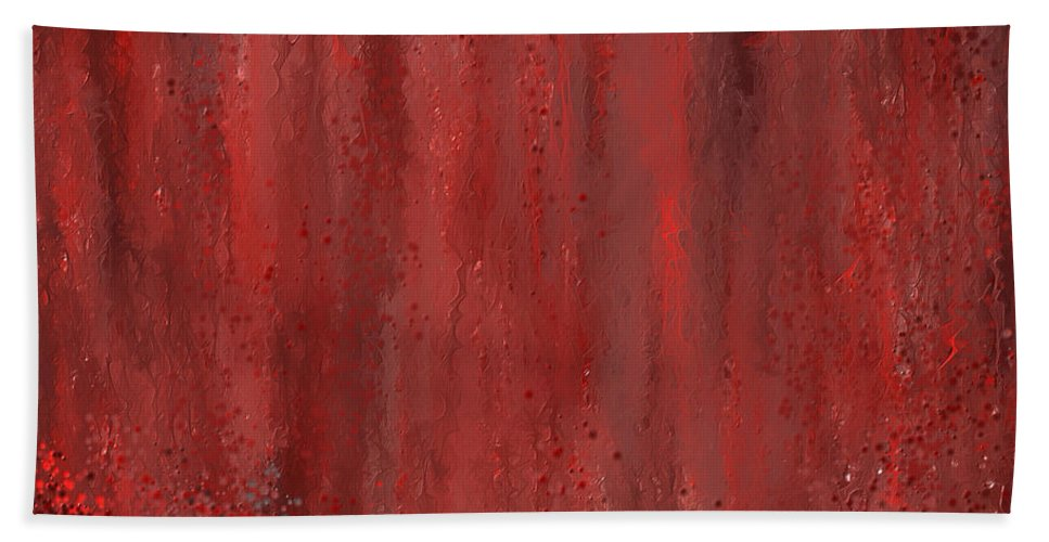 Marsala Hand Towel featuring the painting Lost Garden- Marsala Art by Lourry Legarde