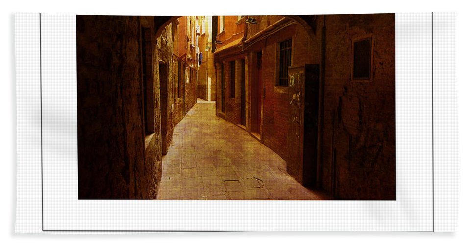 Alley Bath Sheet featuring the photograph Lost In Venice Poster by Mike Nellums