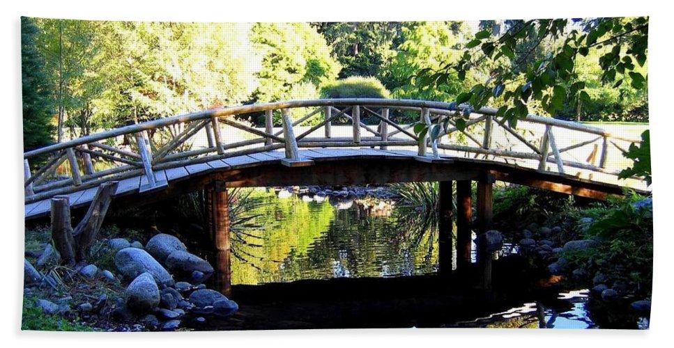 Lost Lagoon Bridge Hand Towel featuring the photograph Lost Lagoon Bridge by Will Borden