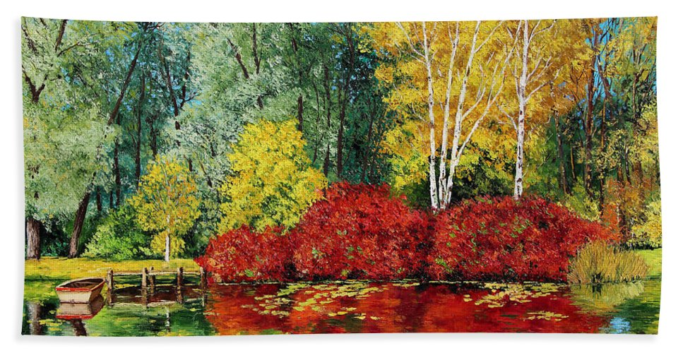 Jean-marc Janiacyzk Hand Towel featuring the digital art Autumn Pond by MGL Meiklejohn Graphics Licensing