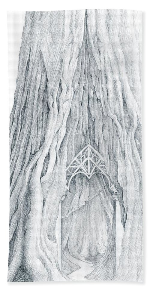 Lothlorien Bath Sheet featuring the drawing Lothlorien Mallorn Tree by Curtiss Shaffer
